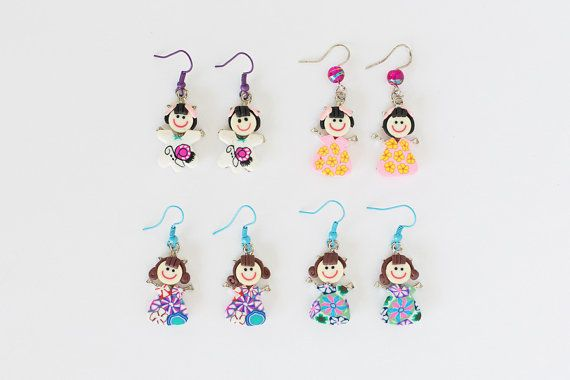 Polymer Clay  Fimo Little Girl Earrings by JeniandPatsBeadHive