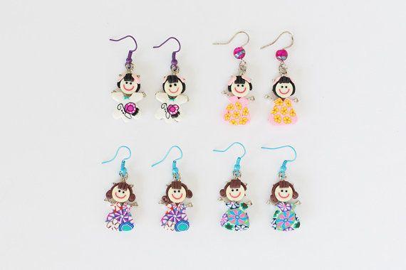 Polymer Clay  Fimo Little Girl Earrings by JeniandPatsBeadHive