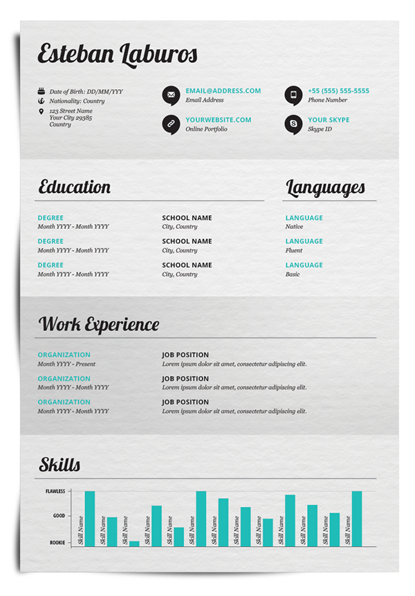 Sections Colour Coordination Resume  Cv Inspiration  Resume