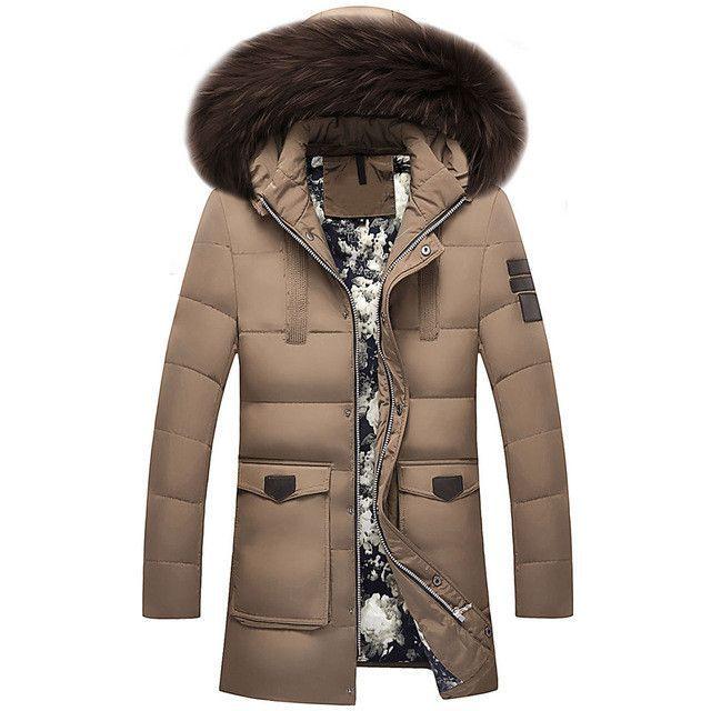 Thick Warm Winter duck Down Jacket for Men Waterproof Fur Collar ...