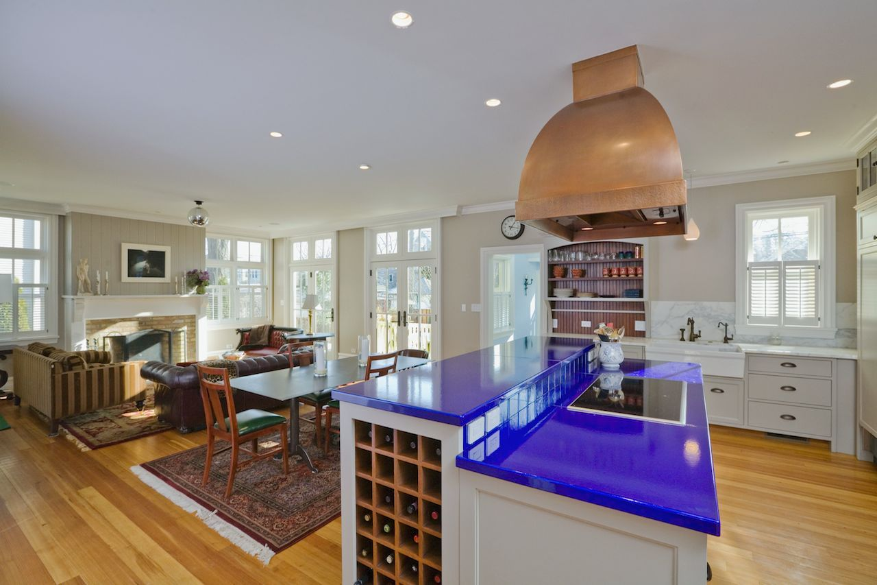 Modern And Bright Kitchen With Royal Blue Countertop Color And Copper Range  Hood | Leader Builders Corp.