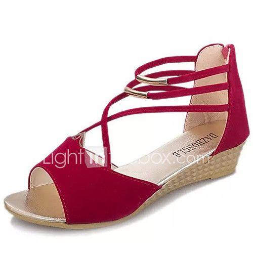 Mujer Zapatos Tela Elástica Verano Confort Sandalias Media plataforma Punta abierta Blanco / Negro En Vrac Modèles mRDCZE