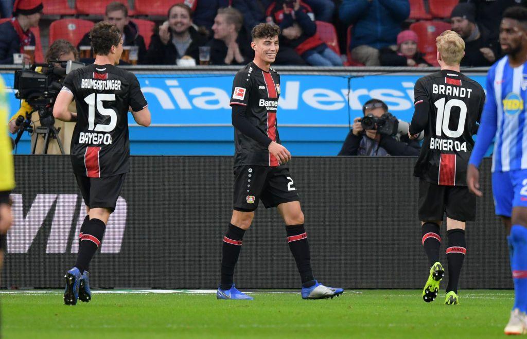 Julian Baumgartlinger, Kai Havertz and Julian Brandt of Bayer 04 ...