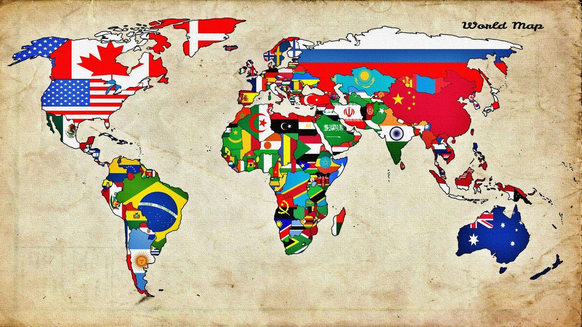 Flag World Map Countries Map World Wallpaper Illustrated Map World Map Wallpaper World Map