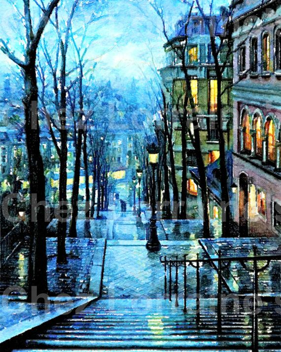 Montmartre at Night:  A Paris France Fine Art Watercolor Print for the French Cottage Chic or European Styled Home