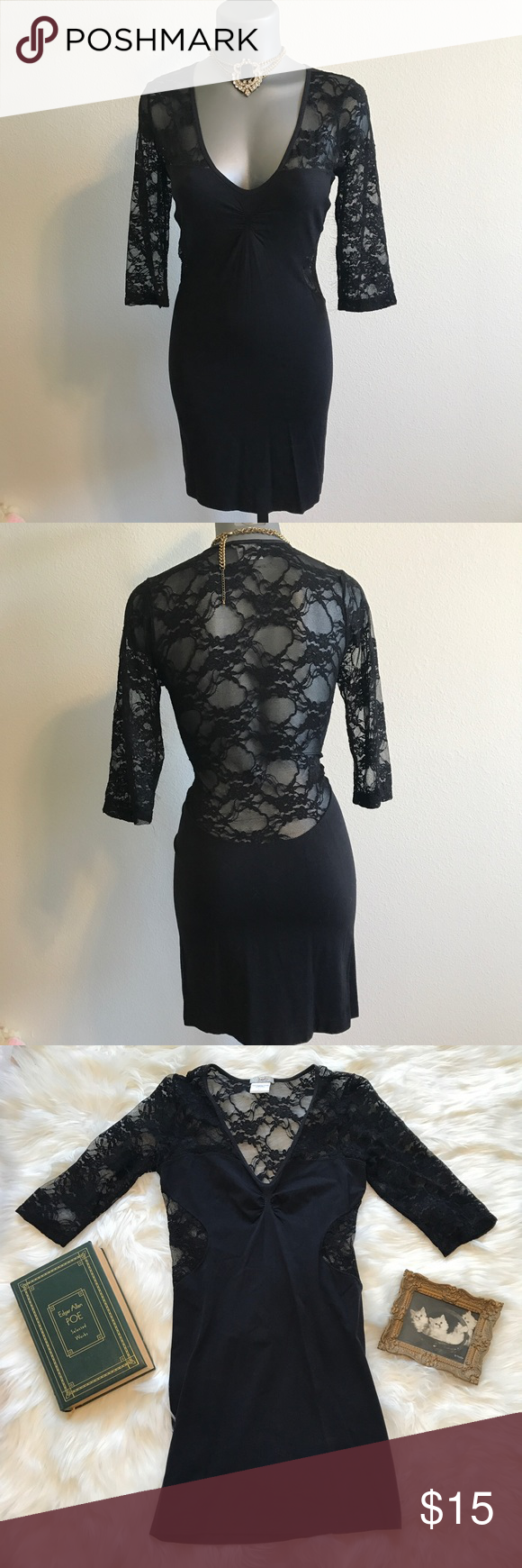 Black Sheer Lace Open Back Bodycon Dress M / L New without tags. Sheer black lace, open back, deep scoop neckline dress . Tagged M / L. Some excess elastic is sticking out on one of the sleeves, can easily be cut off. Selling as is! Otherwise A+ condition. #black #sheer #lace #mini #stretchy #stretch #dress #betsey #f21 #forever #21 #johnson #goth #gothic #grunge #90s #1990s #courtney #love #witchy #witch #glam #jawbreaker #rose #mcgowan #charmed #fashion #nova #bodycon #bandage #cut #out #open #back #backless #rocker #rocknroll #gypsy #boho Dresses Mini