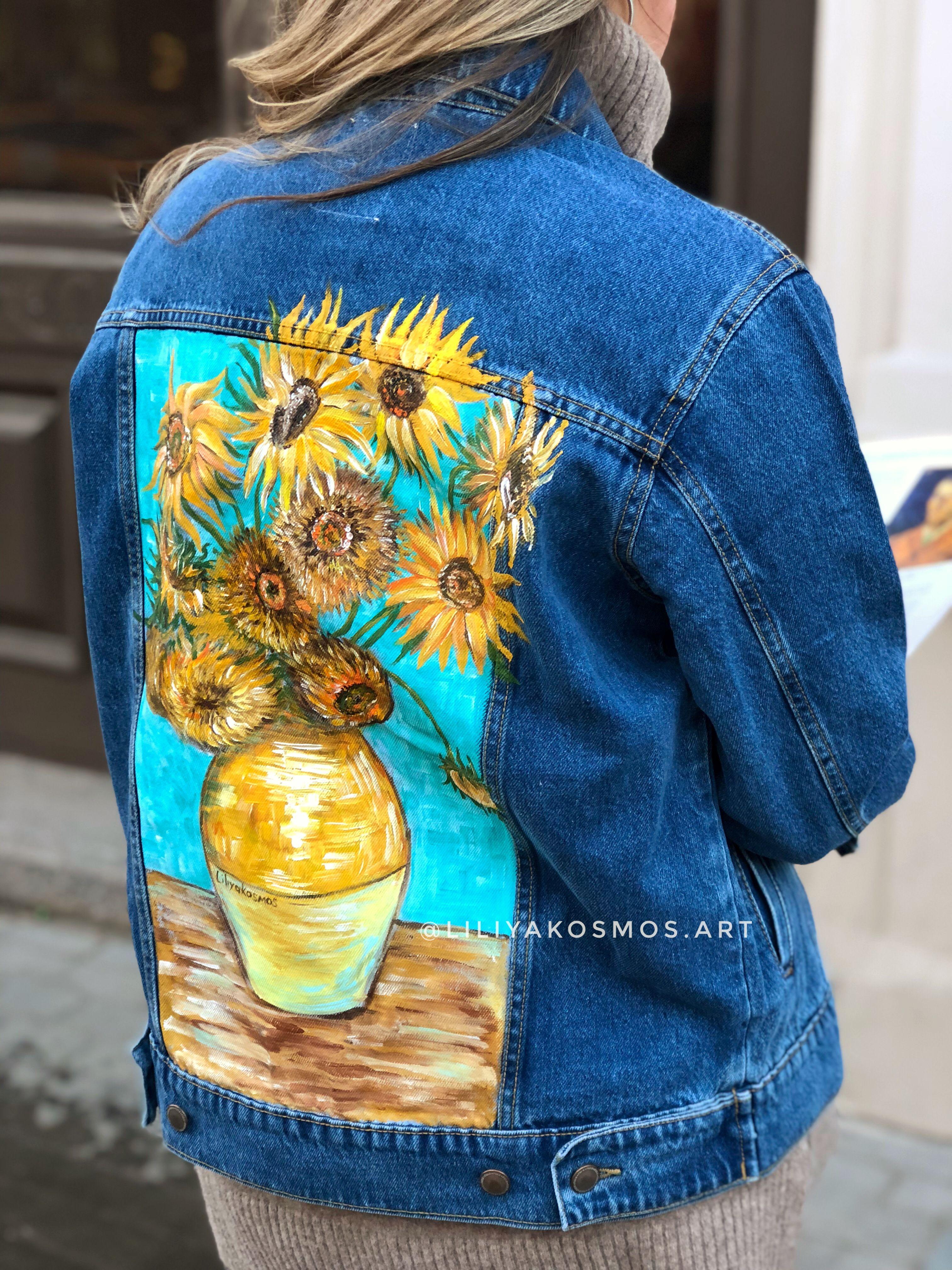 Painted Custom Van Gogh Sunflowers Denim Jacket Price Only Etsy Hand Painted Denim Jacket Custom Denim Jacket Custom Denim [ 4032 x 3024 Pixel ]