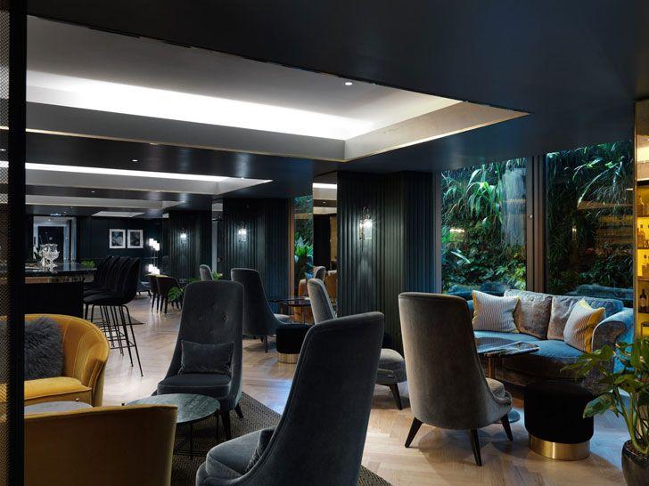 Athenaeum Hotel in London #style #chic #luxury #hotel #boutique #modern #london #uk #negland #yellow #designer #chair #foyer #lobby #design #architecture #inspiration #interior #blue #sofa #dark #black #tones #colors #color #tone #idea #scheme