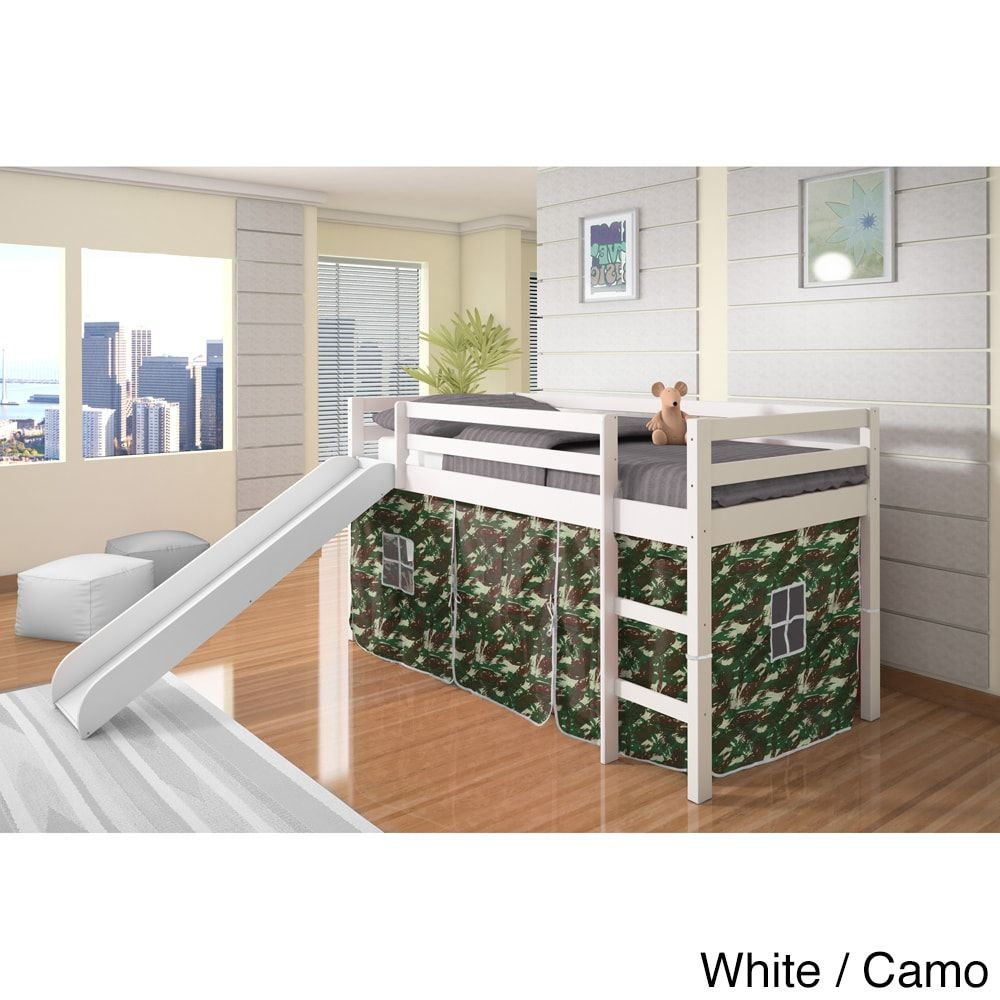 Camo loft bed with slide  Create your daughterus dream room with our twin loft bed with slide