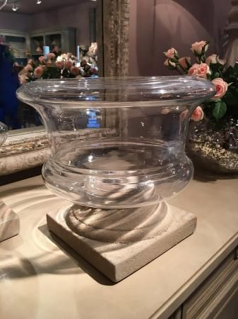 Large Glass Hurricane Vase On Base Furniture Accessories At