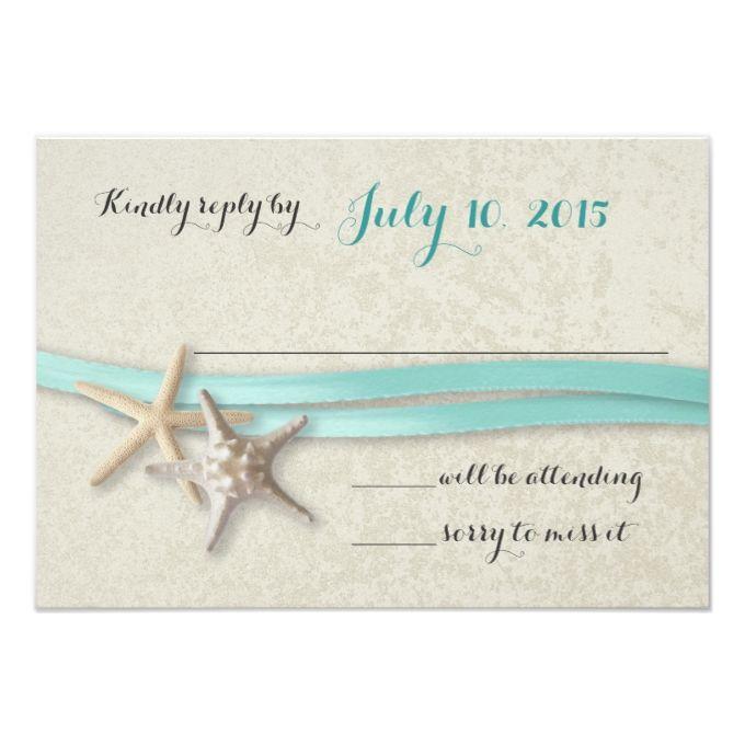 Starfish and Ribbon Beach Response 3.5x5 Paper Invitation Card