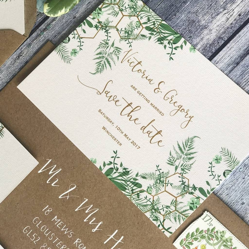 Geo Botanica Wedding Invitation | Botanical wedding stationery ...