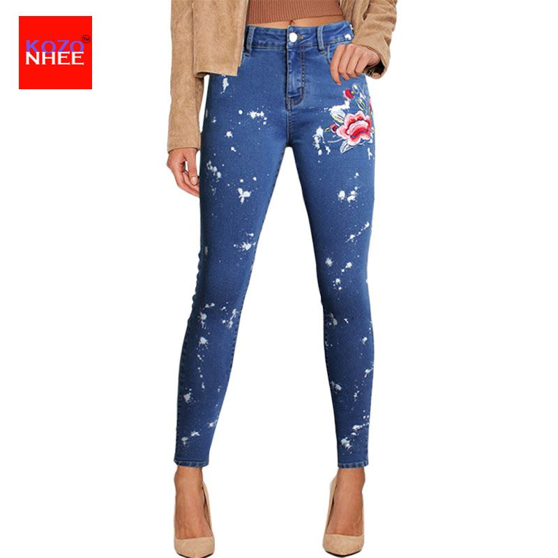 Women Roses Embroidery Jeans With High Waist Plus Size Tight Pencils Blue Denim Pants Skinny Casual Fashion Jeans Ffor Girls