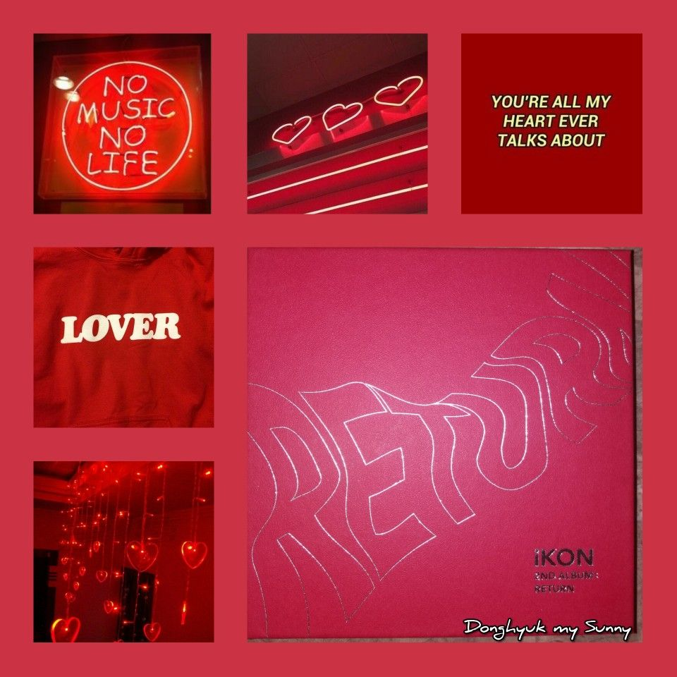 "iKON album ""return"" red ver. Aesthetic collage"