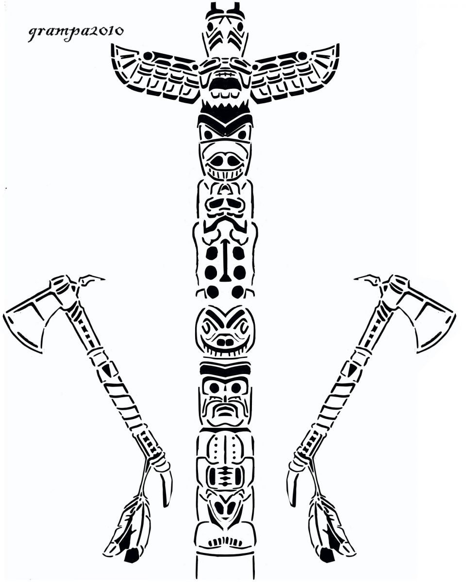 Totem Pole Coloring Pages | Totem pole - Cultural - User Gallery ...