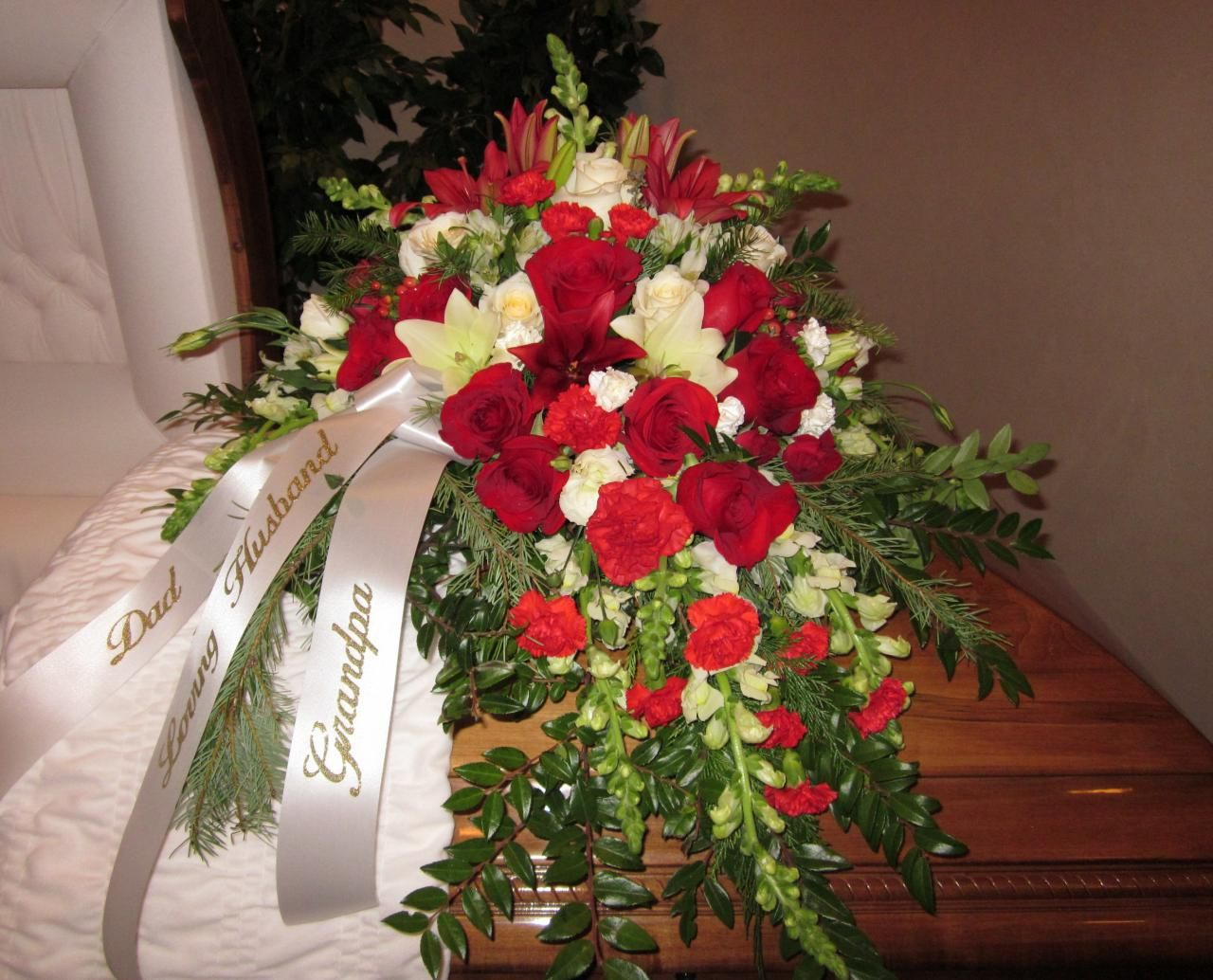 Red And White Casket Spray Funeral Flowers Pinterest Sympathy