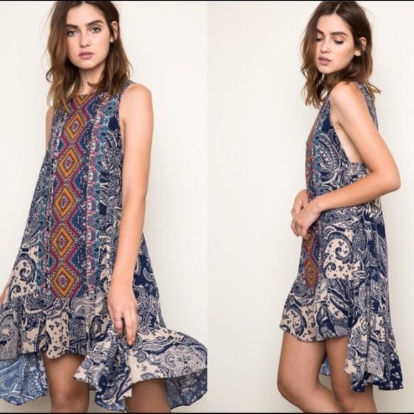 FLASH SALE 🎉🎉🎉NWT Tribal Hi-Low Blue Mix NWT Tribal Hi-Low Blue Mix Dress. I have 3 dresses 1 Small, 1 Medium and 1 Large. This adorable dress is a loose fitting dress. It looks great on all body shapes. 100% Rayon. This looks just fabulous when I tried it on. Please ask me any questions and God Bless You💜.         PLEASE NO OFFERS NO TRADES NO PAYPAL THANK YOU April Spirit Dresses High Low