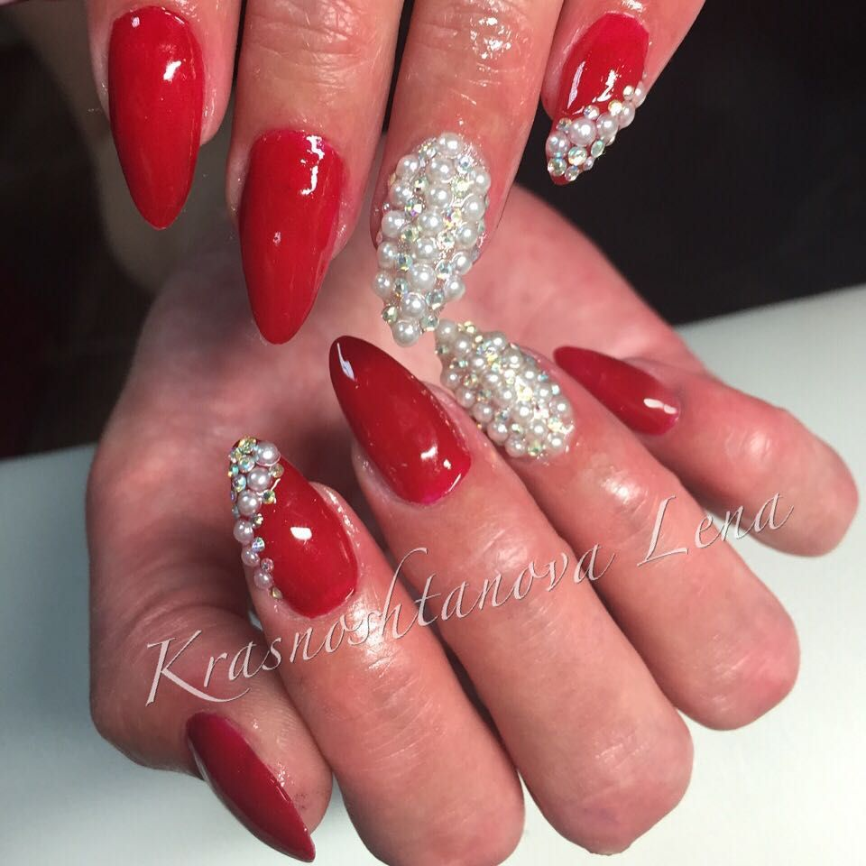 Credit Red Nails With White Rhinestones
