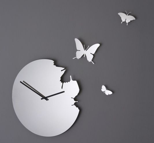 Butterfly Clock, Stainless Steel