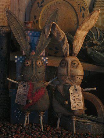 Pattern Primitive Bunny Rabbit Heart Ornies   eBay