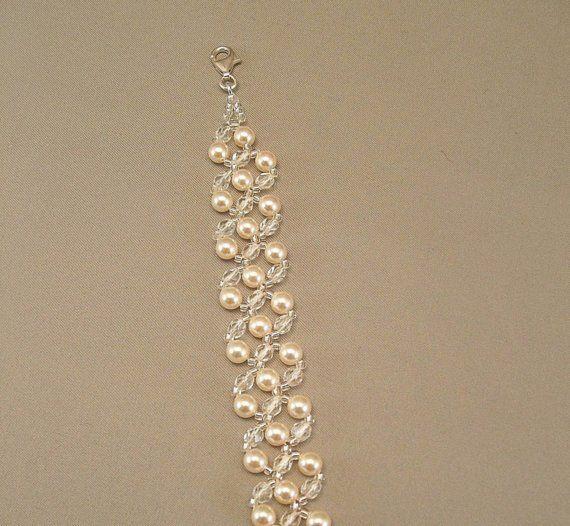 Cream Pearl And Crystal Bridal Bracelet Wedding By Bridaldiamantes