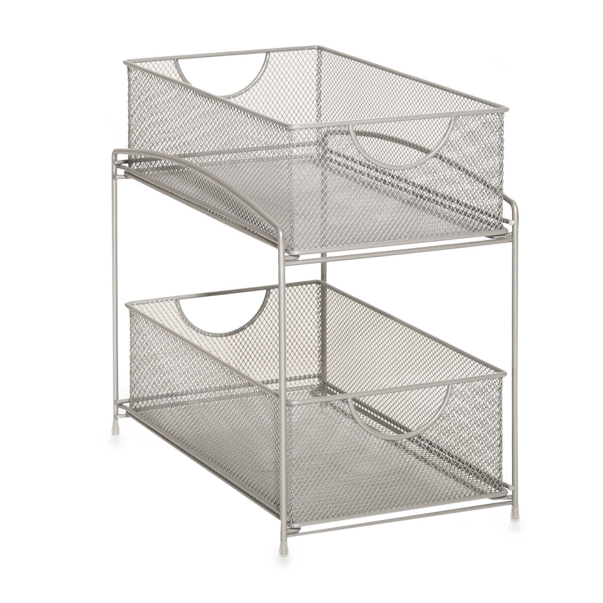 Org 2 Tier Mesh Double Sliding Cabinet Basket In Silver