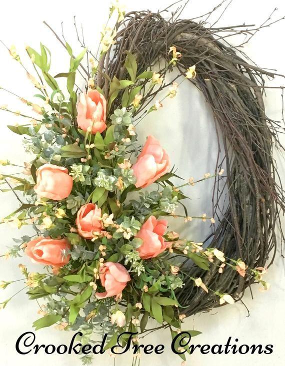 Photo of Spring Wreath, Tulip Wreath, Easter Wreath, Spring Door Decor, Tulips, Easter Door Decor, Spring Floral, Front Door Wreath, Spring Wreaths