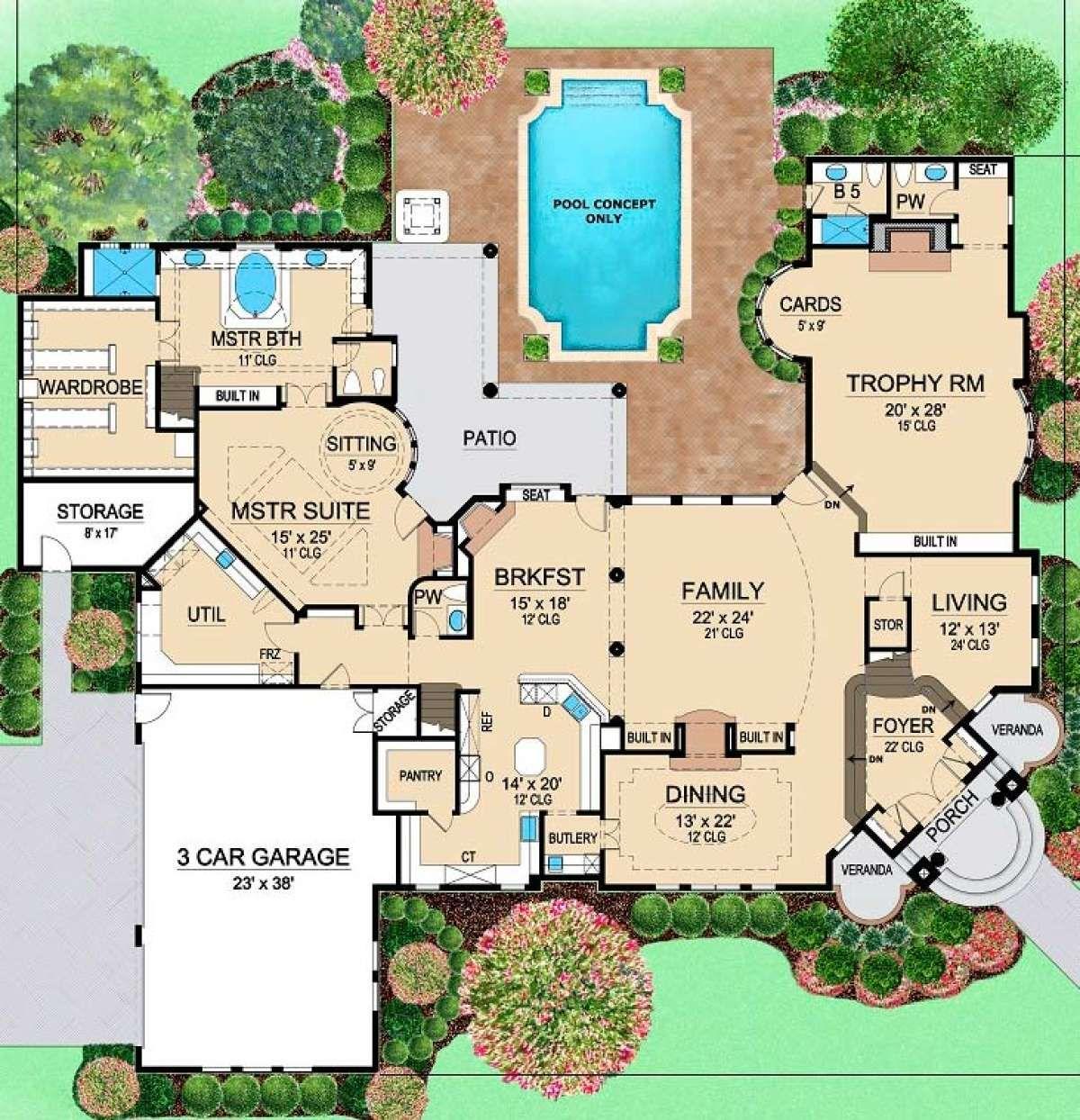 House Plan 5445 00146 Mediterranean Plan 7 199 Square Feet 4 Bedrooms 6 Bathrooms In 2021 Luxury Floor Plans House Plans Dream House Plans