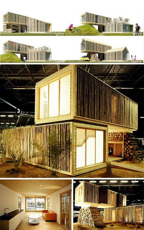 shipping container houses pics cargo container style wooden prefab home urbanist container. Black Bedroom Furniture Sets. Home Design Ideas