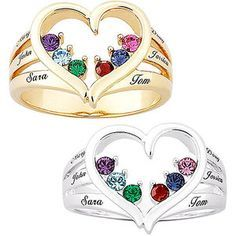walmart family tree ring | ... 18kt Gold over Sterling Mother's Birthstone Heart and Family Name Ring