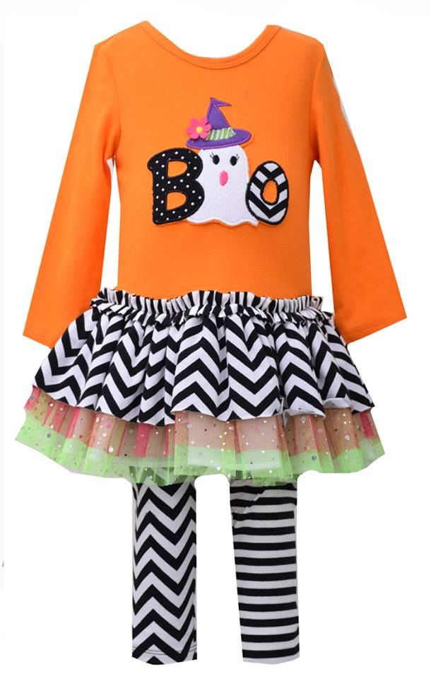Bonnie Jean Halloween Striped Tunic with Witch/'s Hat and Legging Set