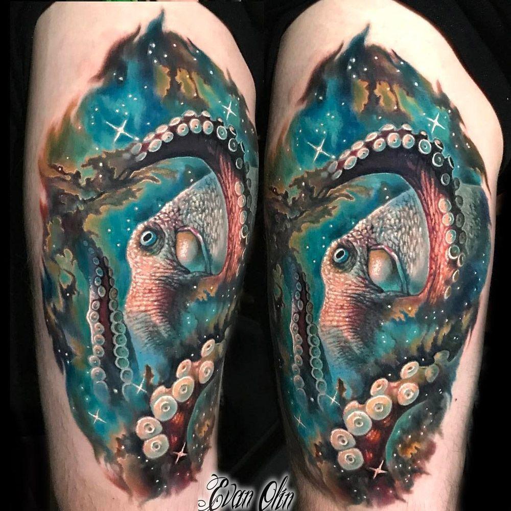1fb05fc3721da Space Octopus, Mens Leg Piece | Best tattoo design ideas #CoolTattooLife