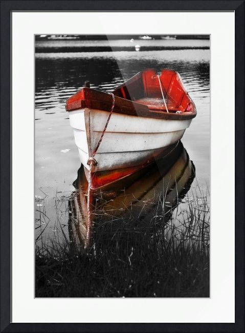 Black and white red boat by dapixara art cape cod wellfleet