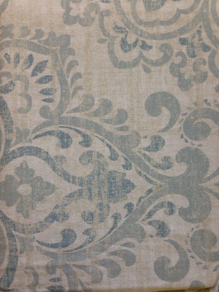 Cynthia Rowley Ava Medallion Fabric Shower Curtain Grey Blue Tan CynthiaRowley