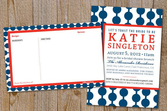 Modern Bridal Shower invitation and matching 4x6 recipe card--PRINT YOUR OWN on Etsy, $28.65 AUD