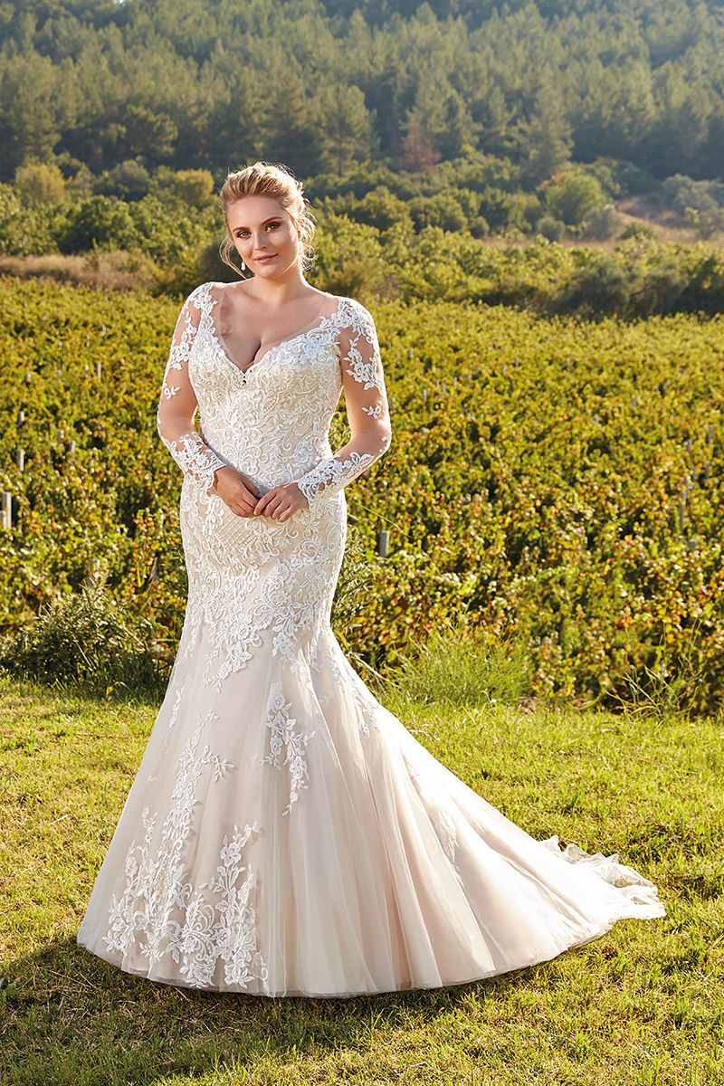 Wedding Dress Ur103 Curvy Wedding Dress Long Sleeve Wedding Dress Lace Lace Mermaid Wedding Dress [ 1200 x 800 Pixel ]