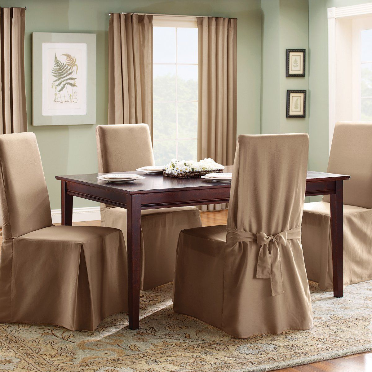 Wonderful Slipcovers For Dining Room Chairs In Brown Featuring Rectangular Plus Sophisticated Rug