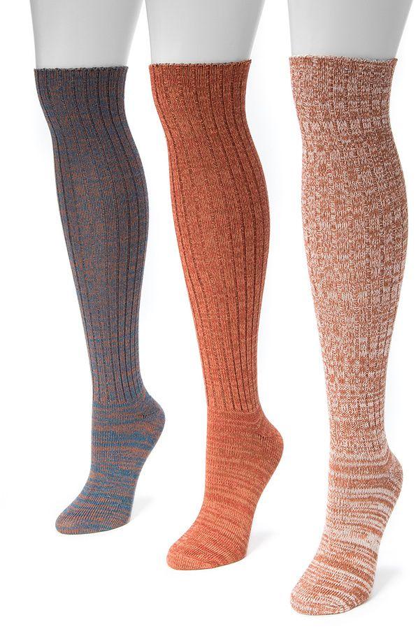 3d75be131 Muk Luks Burnt Orange Marled Three-Pair Knee-High Socks Set ...