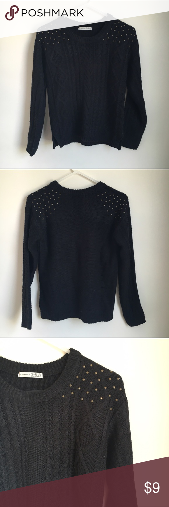 Atmosphere Knit  Studded Black Sweater