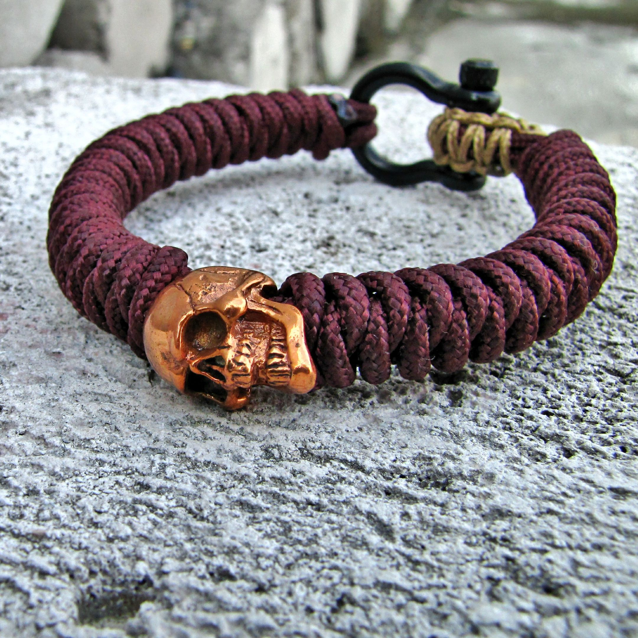Paracord Tactical 2mm Snake Knot With Copper Perfect Skull Bead