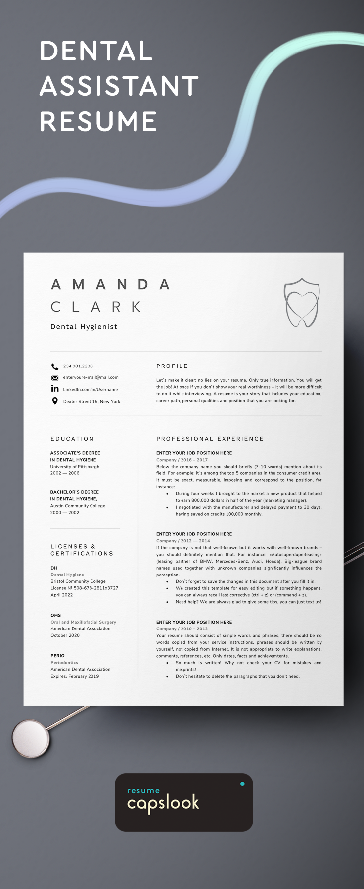 Dental Assistant Dentist Hygiene Resume Template For Microsoft Word Dentaloffice