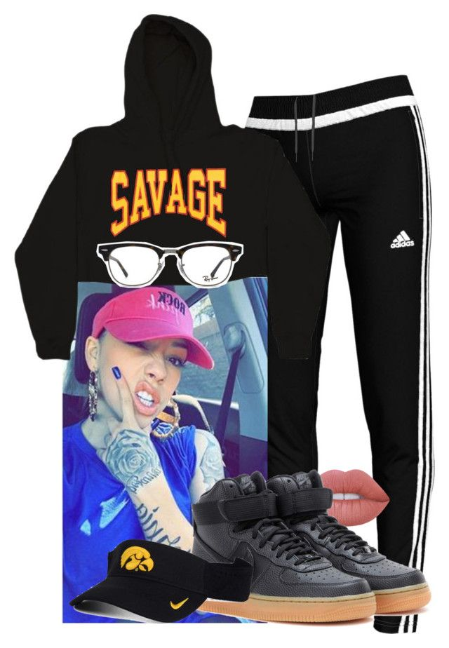 """""""savage"""" by bbylex23 ❤ liked on Polyvore featuring adidas, Ray-Ban, Lime Crime and NIKE"""