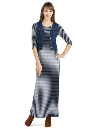 6ff6765a4c Cato Fashions Striped Maxi Dress and Vest Set  CatoFashions. This site has  some cute dresses and skirts