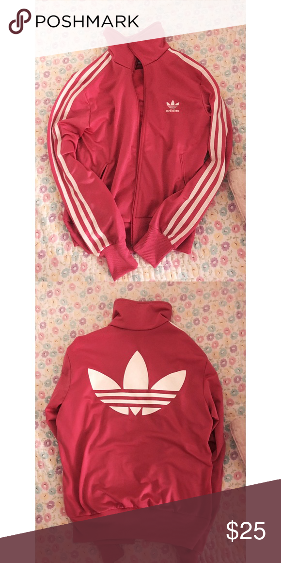37790727863 Adidas pink jacket Hate to see this go! Bright Fuchsia color and adidas  logo on the back. It says medium but it can definitely fit xs and s.