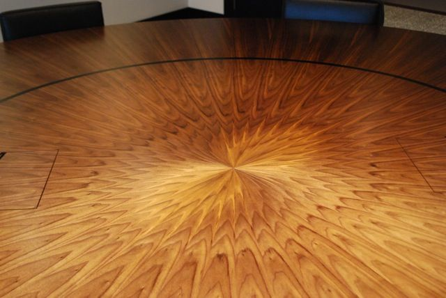 Radial Walnut Veneer Table Top Made In Our Workshop Www.jclworkbench.co.uk