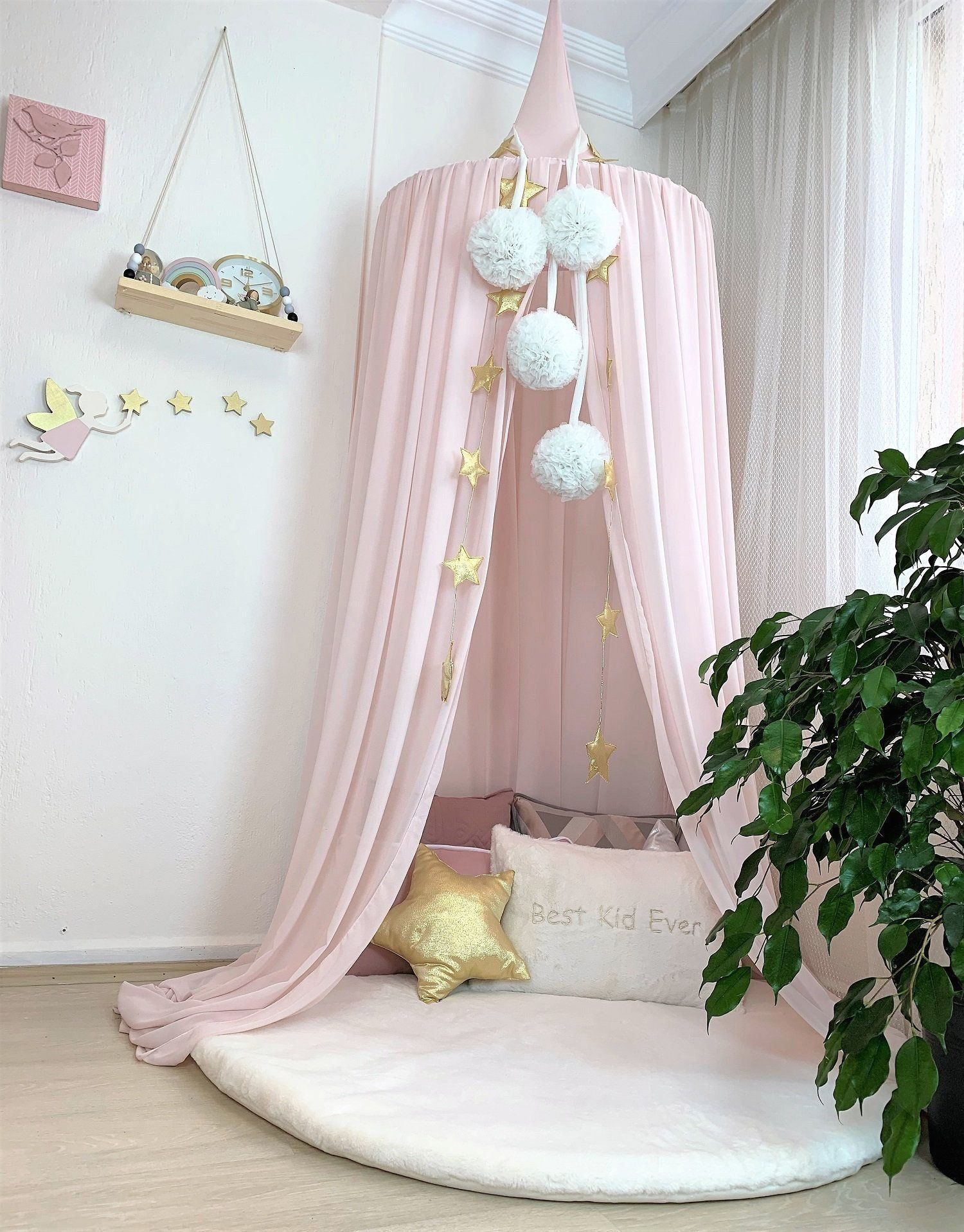 Pink Crepe Canopy, Pink Tent, Hanging Tent, Reading Nook ...