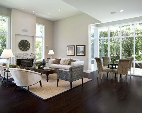 Dark stained bamboo floors really make this room work well - Dark hardwood floor living room ideas ...