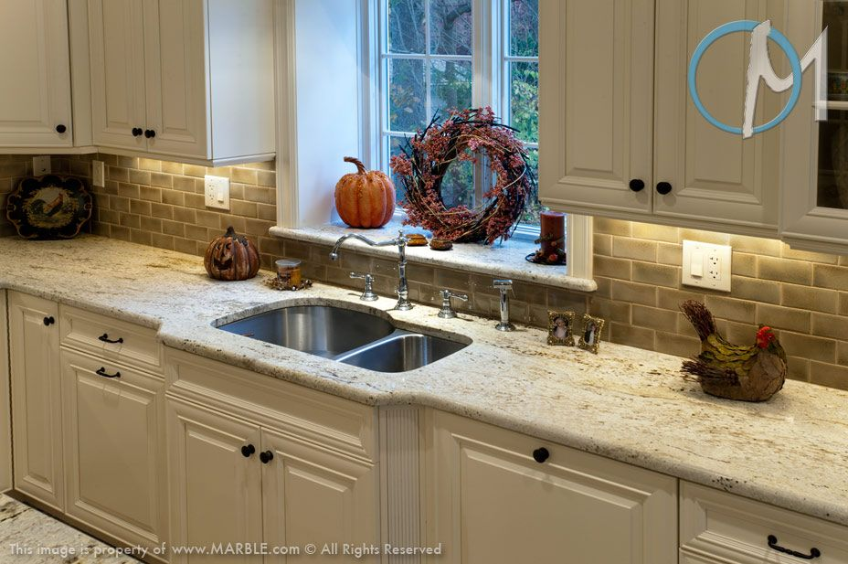 Colonial Gold Granite Is Used Here With A Double Bowl Sink And Polished Faucet A Perfect