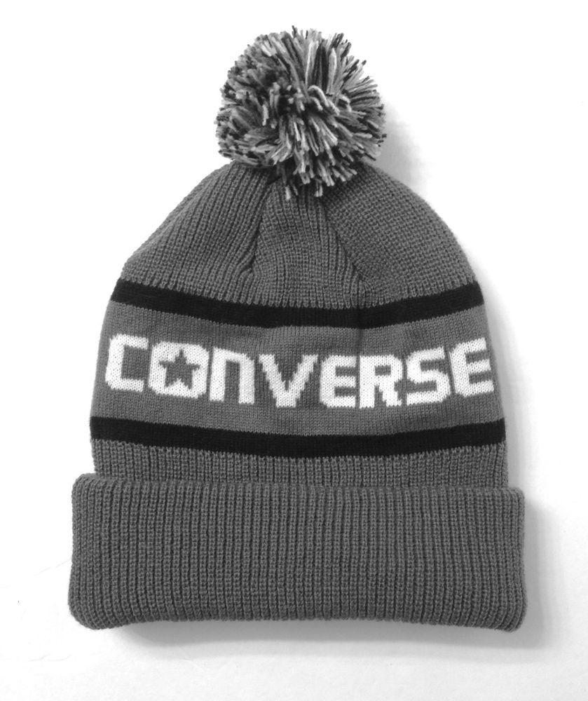 1a0d0c41 New$25 CONVERSE POM BEANIE Gray/Black Stripe/White Winter Knit Ski Hat Men/ Women #Converse #Beanie