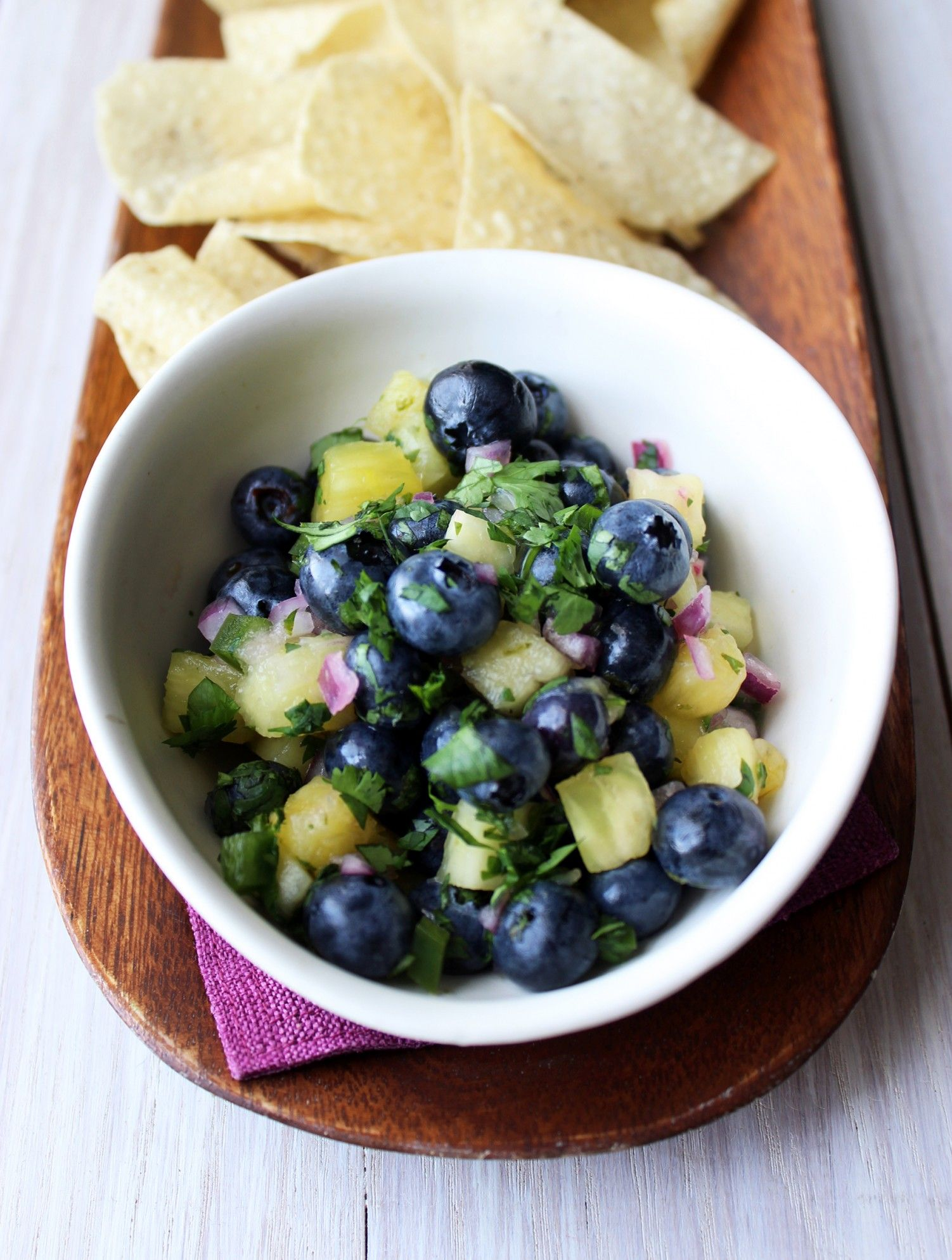This Blueberry Pineapple Salsa looks delicious on this hot day!